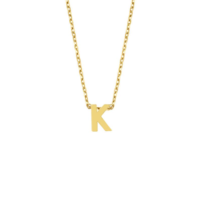 Geelgoud collier met de letter 'K'