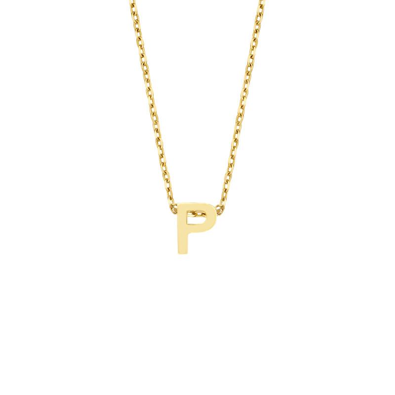 Geelgoud collier met de letter 'P'