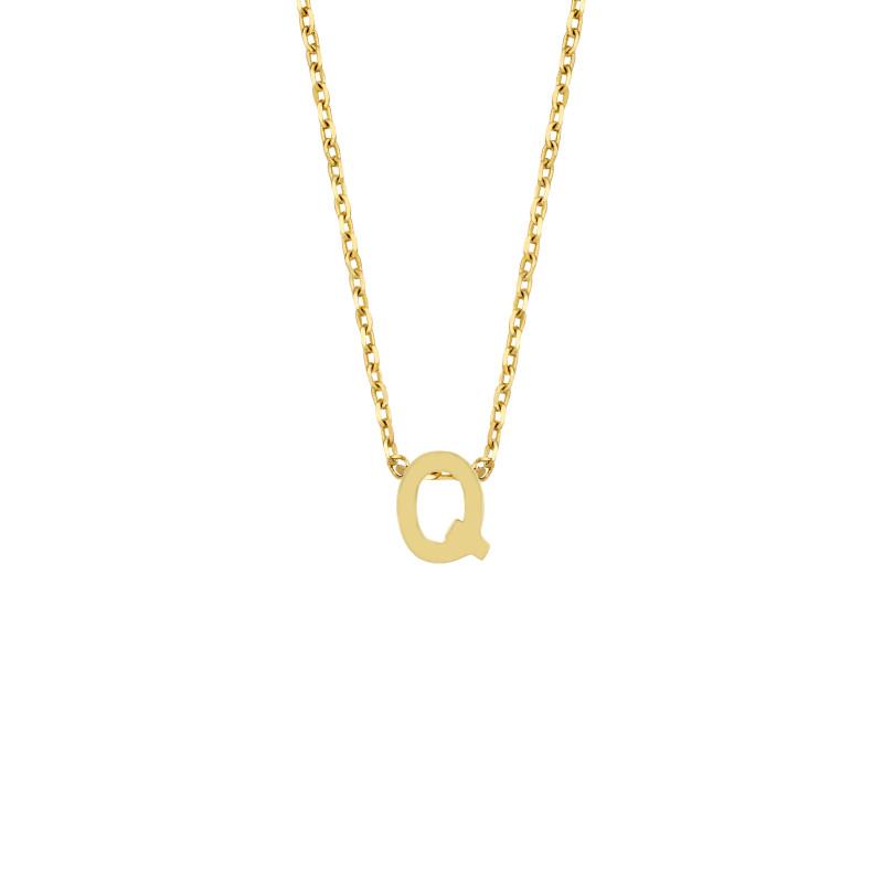 Geelgoud collier met de letter 'Q'