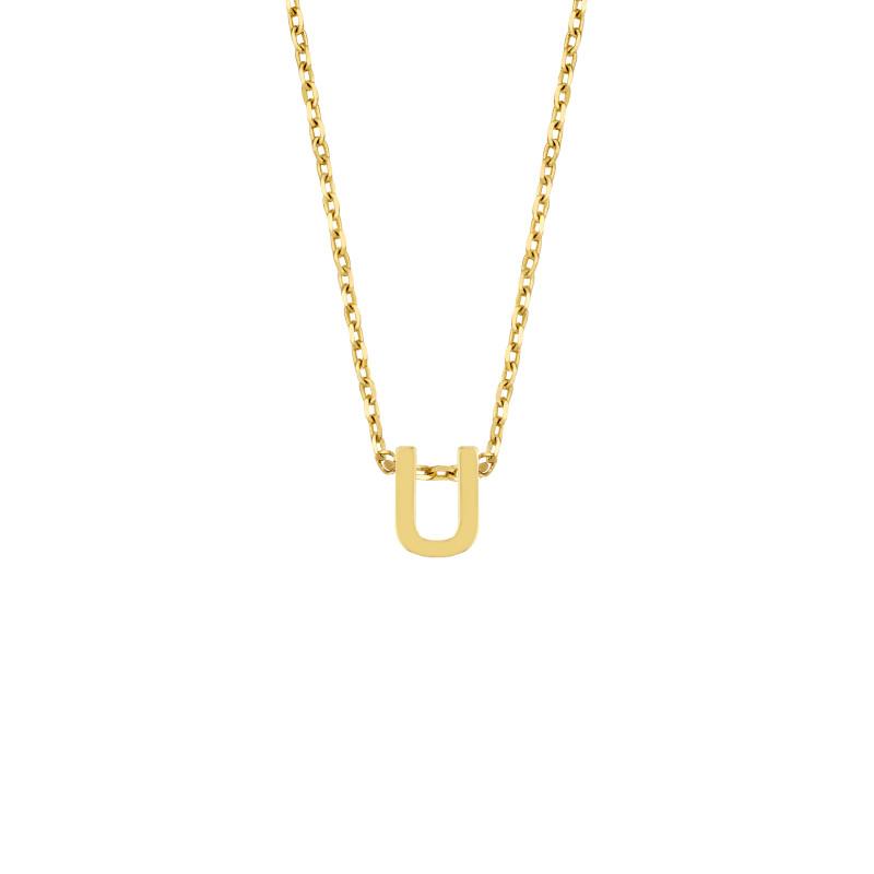 Geelgoud collier met de letter 'U'