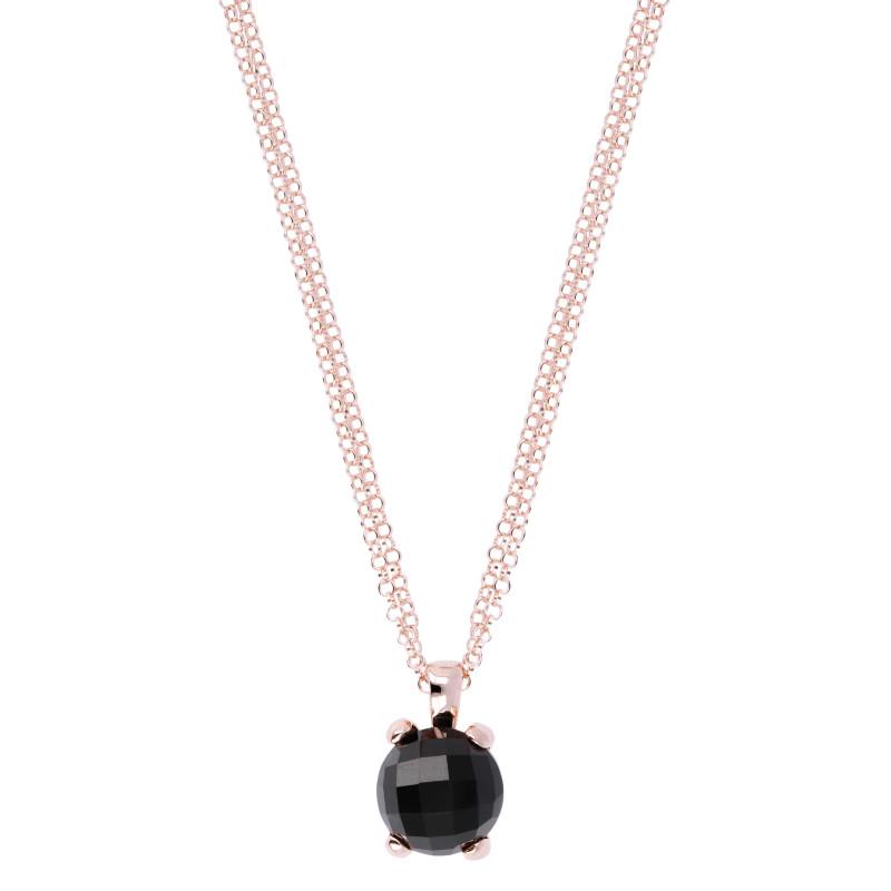 Rosé collier met onyx hanger WSBZ00280