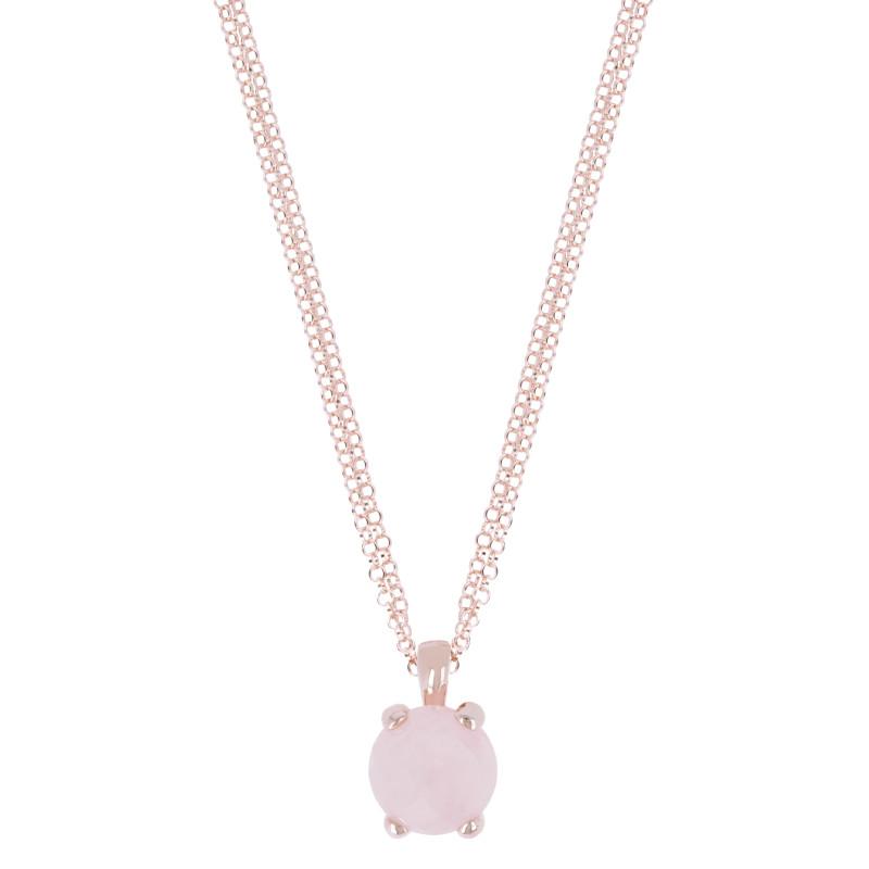Rosé collier met rozenkwarts hanger WSBZ00280