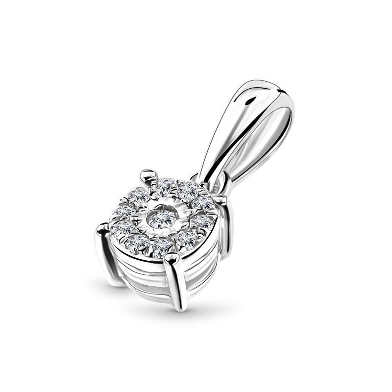 Witgouden hanger met diamant