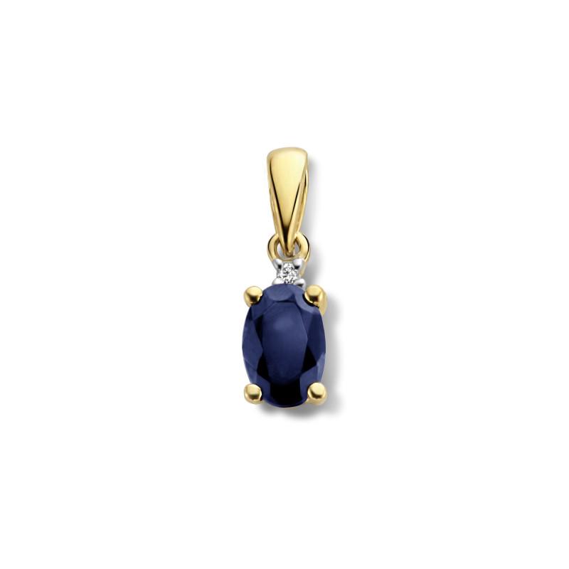 Gouden hanger met diamant en saffier 72872P002-Y
