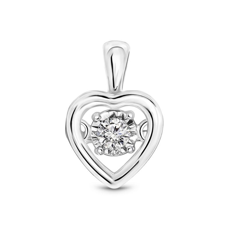 Witgoud hart met diamant 33648-W