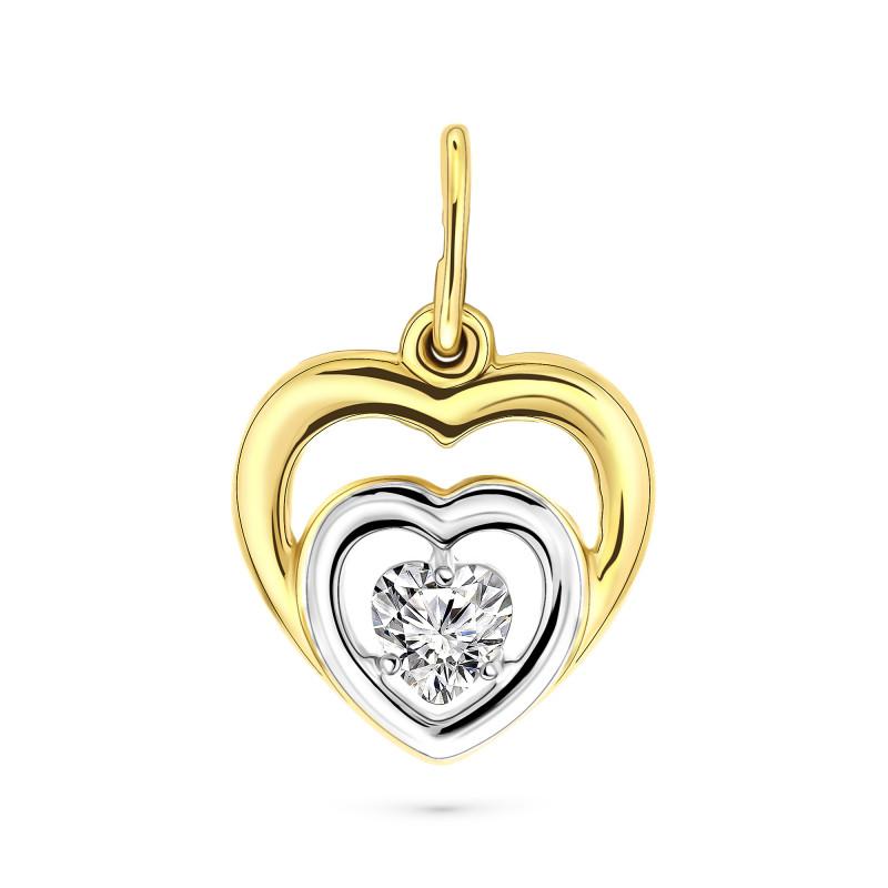 Gouden hart met zirkonia L-60024-Z-Y