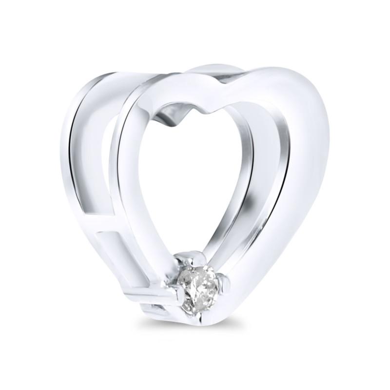 Witgouden hart met diamant P01-BS-0134