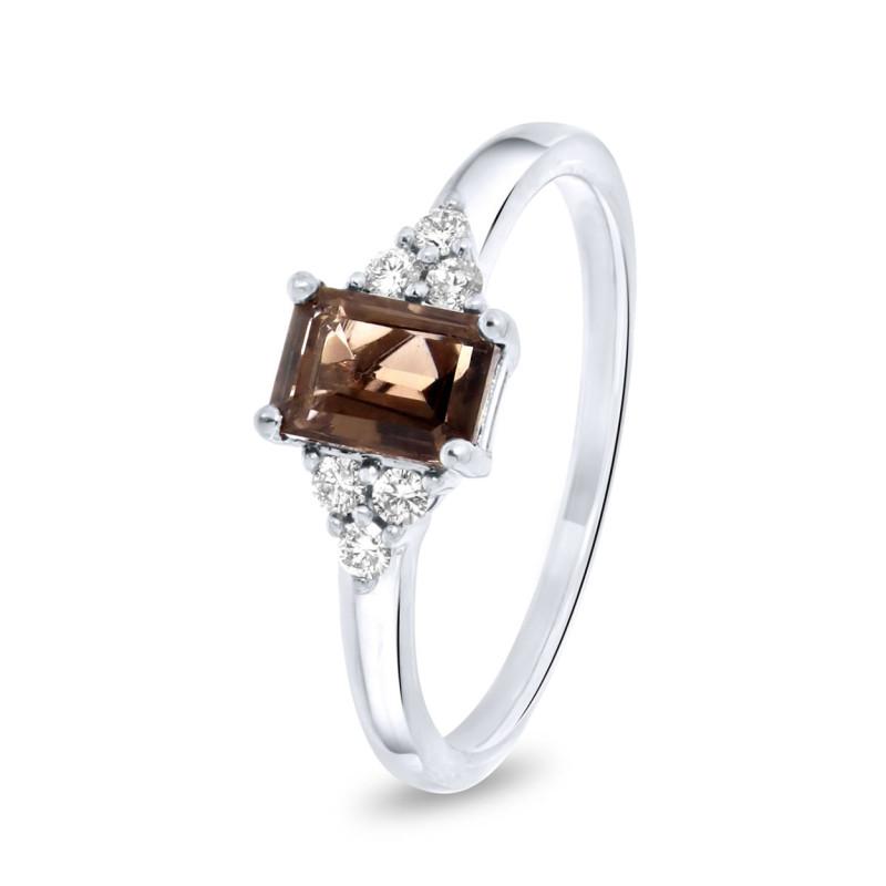 Witgouden ring 0,15crt en rookkwarts 37324R002SM