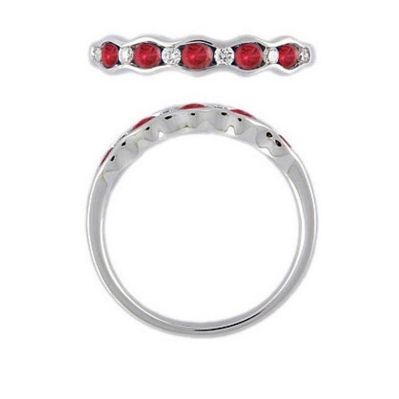 Witgouden ring 0,12crt en robijn 52591R013RU