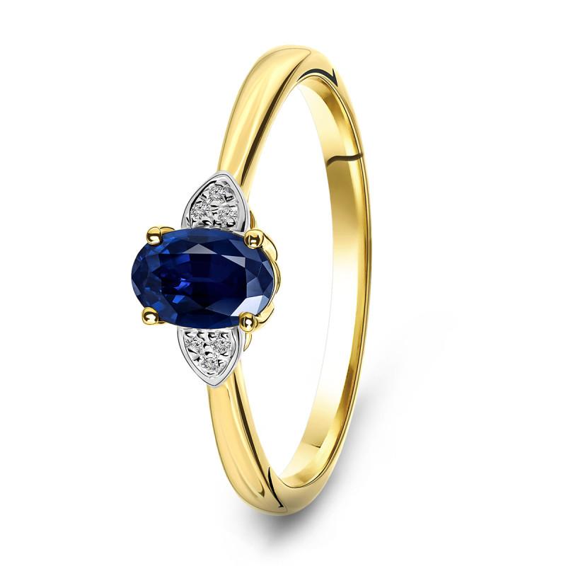 Geelgouden ring met saffier en diamant 59733R025