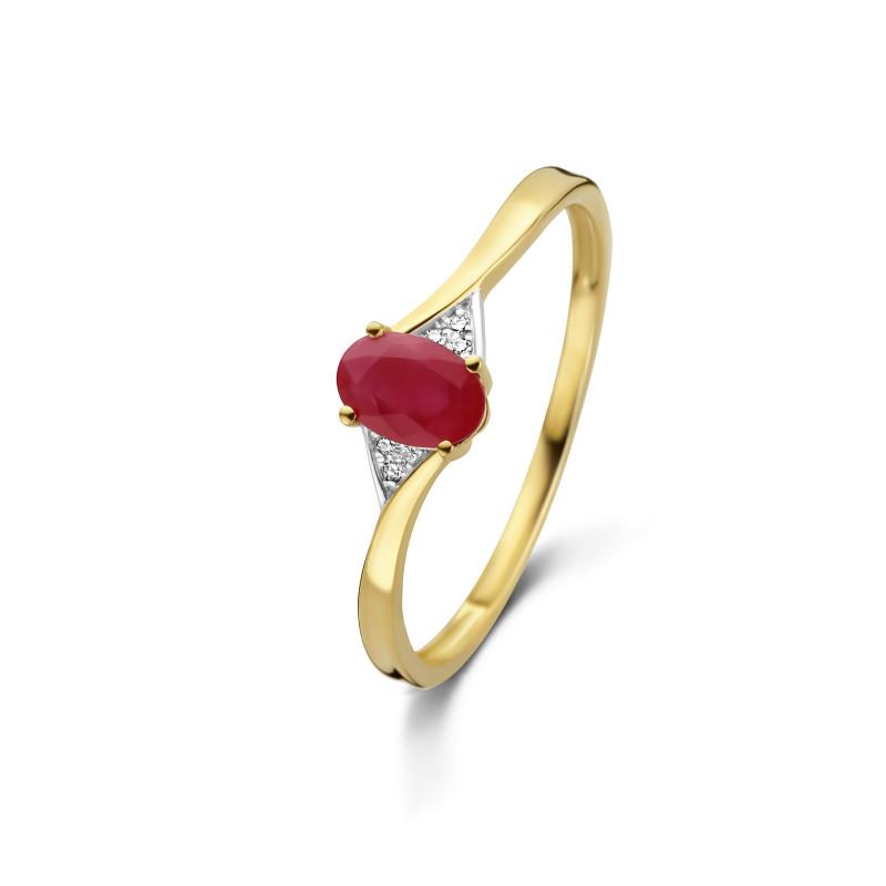 Geelgouden ring met robijn en diamant 59735R008