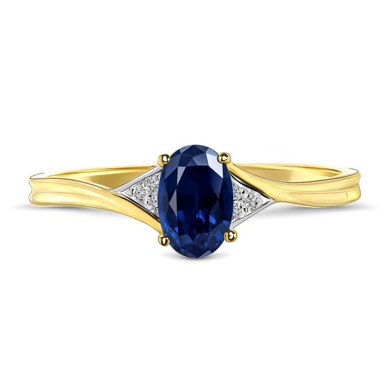 Geelgouden ring met saffier en diamant 59735R011