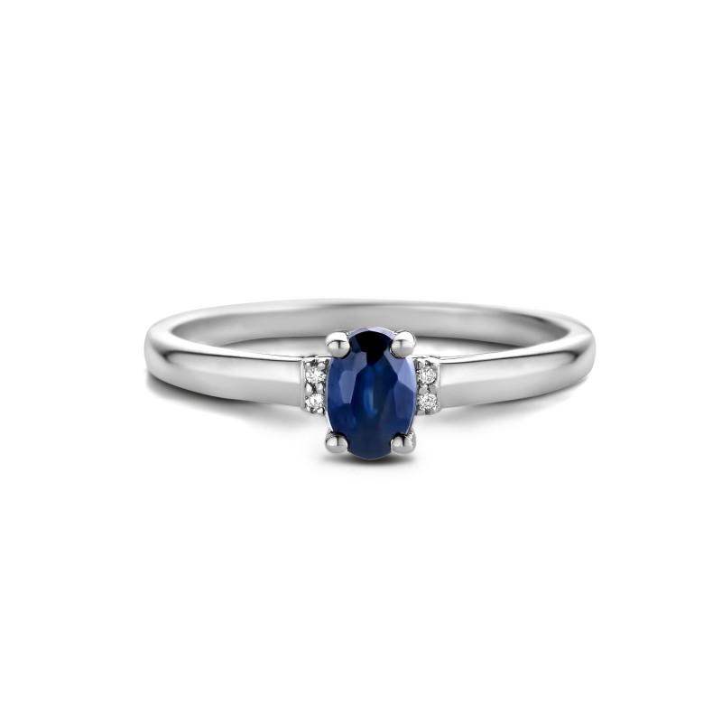 Witgouden ring met saffier en diamant 72868R002-W
