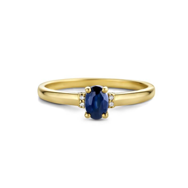 Geelgouden ring met saffier en diamant 72868R002