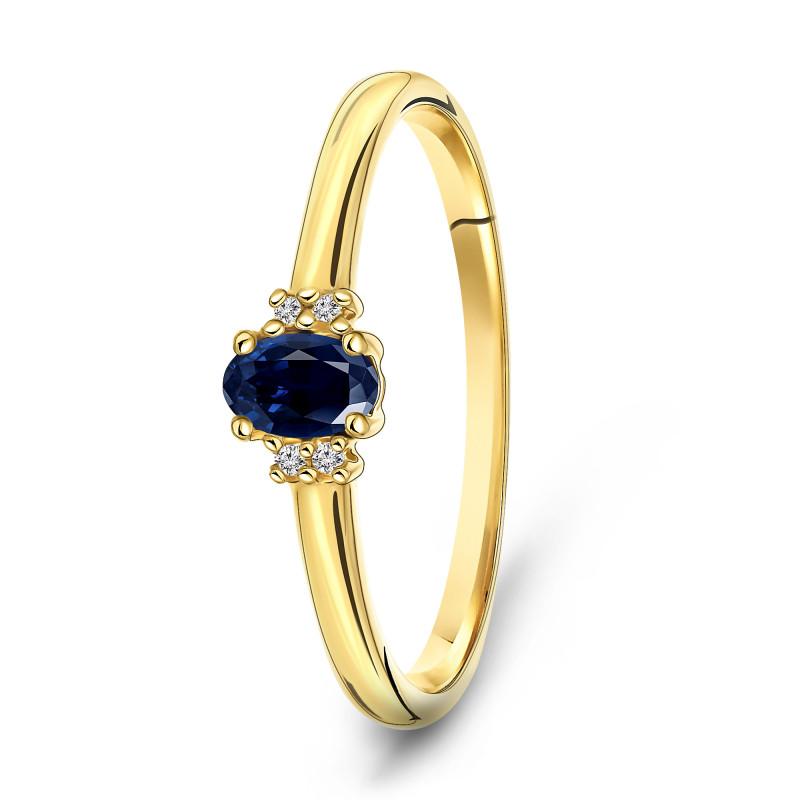 Geelgouden ring met saffier en diamant