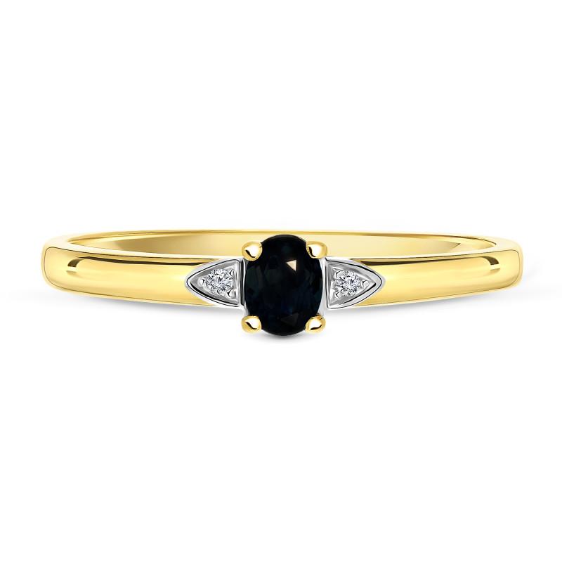 Geelgouden ring met diamant en saffier