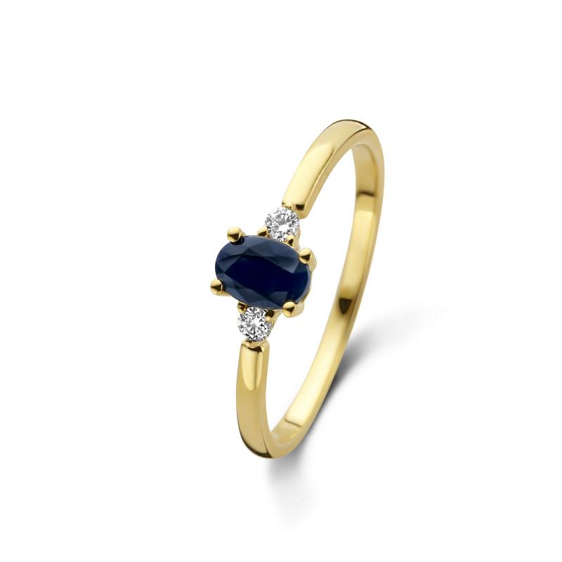 Geelgouden ring met diamant en saffier 72873R002-Y