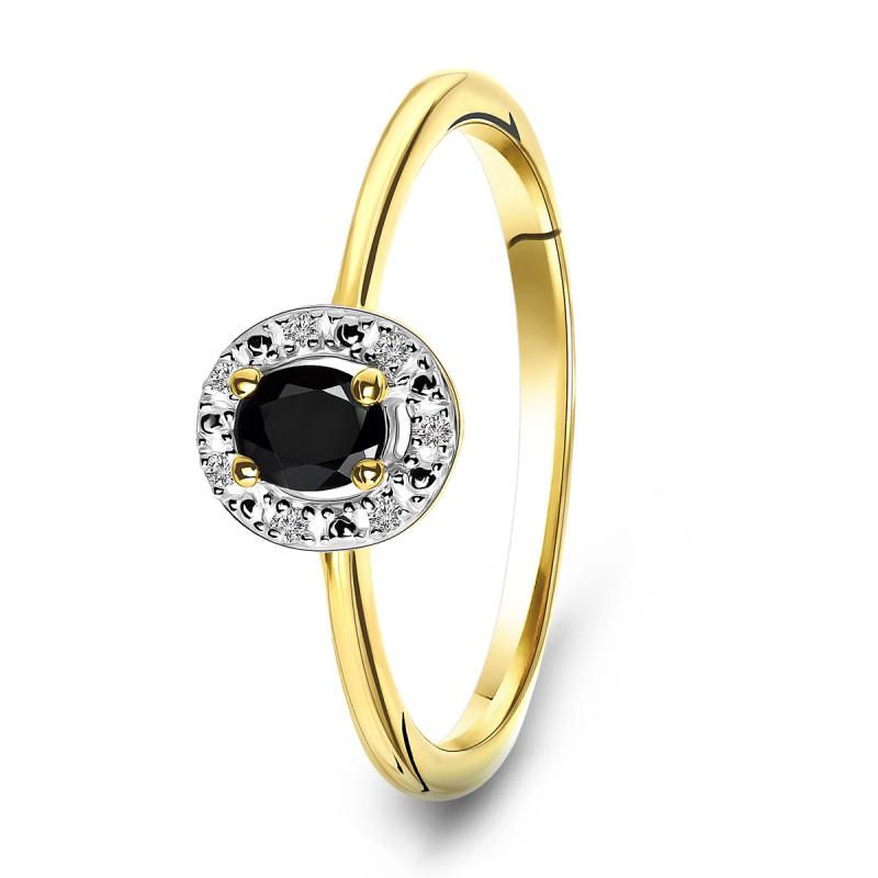 Geelgouden ring met diamant en saffier 72874R002-Y