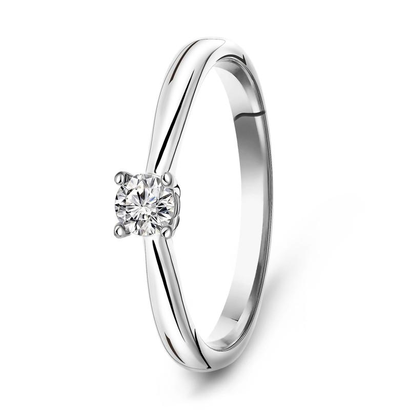 Witgouden diamanten solitair ring