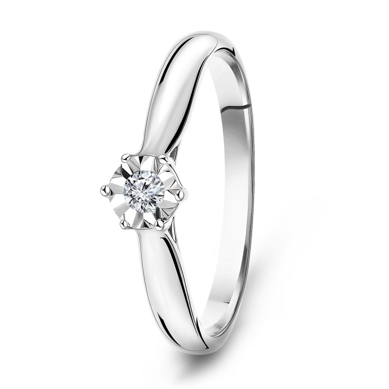 Witgouden ring met diamant SOL-W611-010-G2