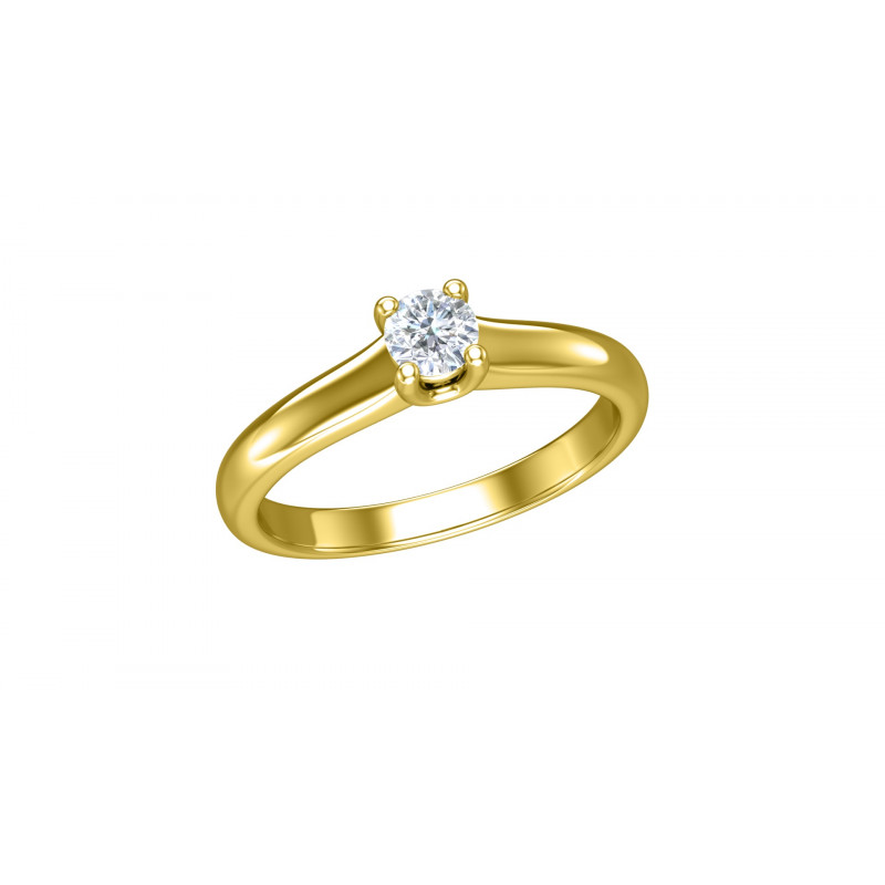 Geelgouden diamanten solitair ring