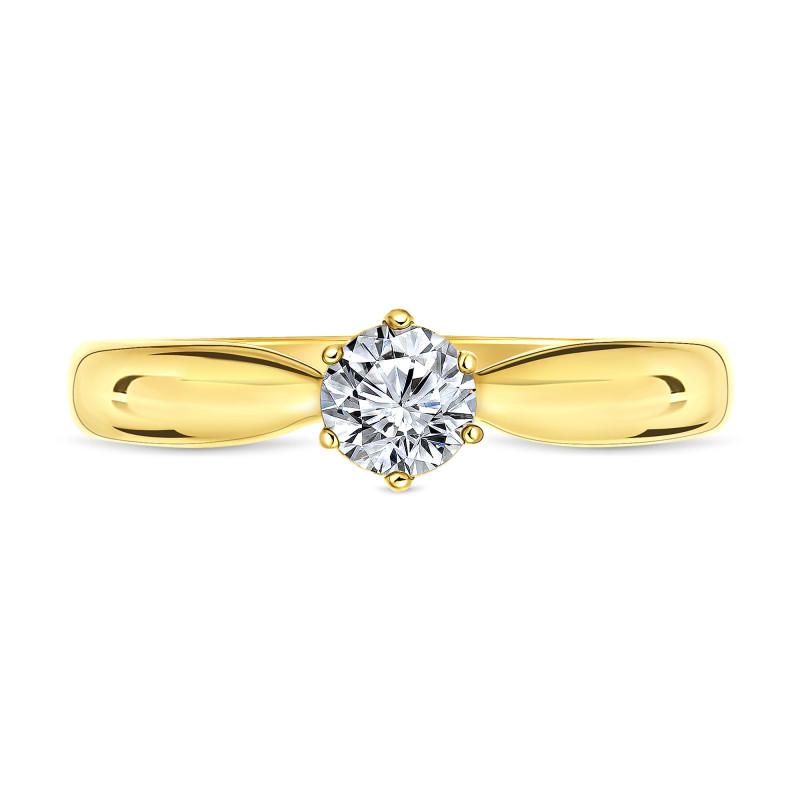 Geelgouden diamanten solitair ring