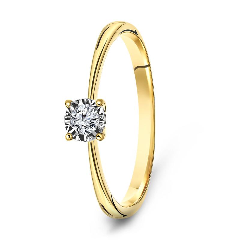 Geelgouden ring met diamant SOL-Y503-015-G2