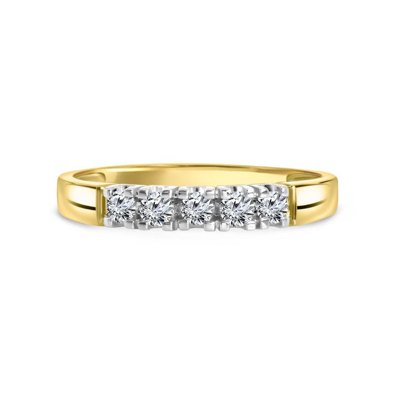 Geelgouden rijring met diamant 001648AD