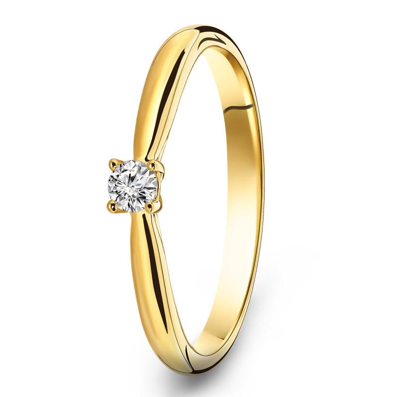 Geelgouden solitair ring SOL-Y240-010-G2