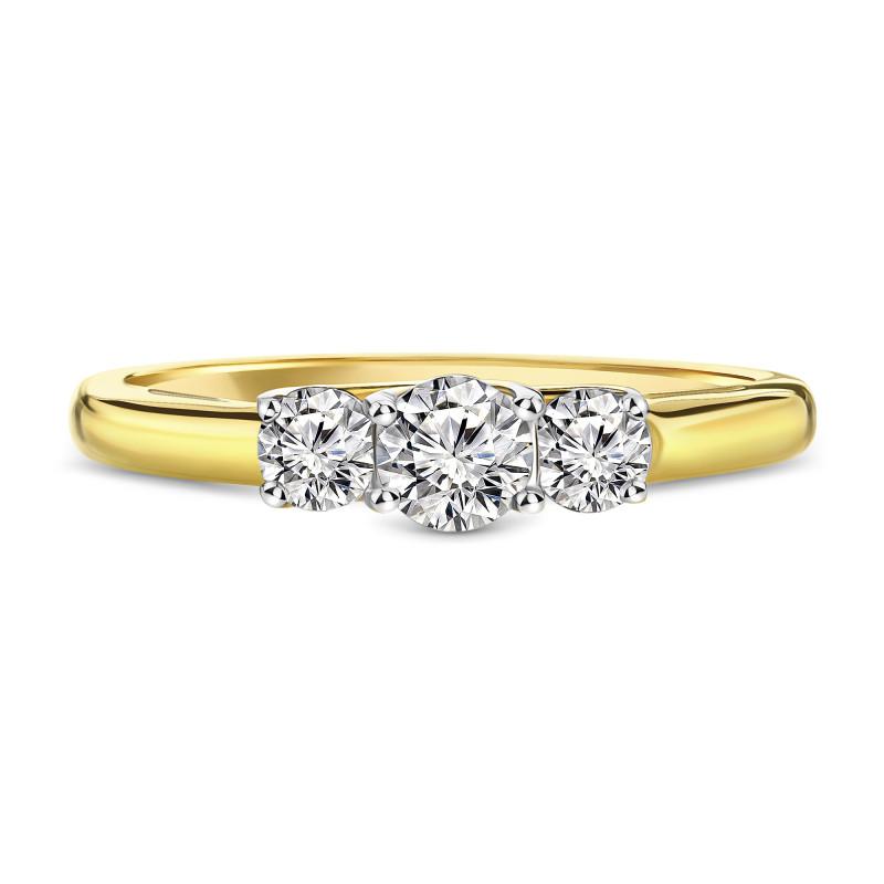 Geelgouden ring met zirkonia R01-SW-59230-Z