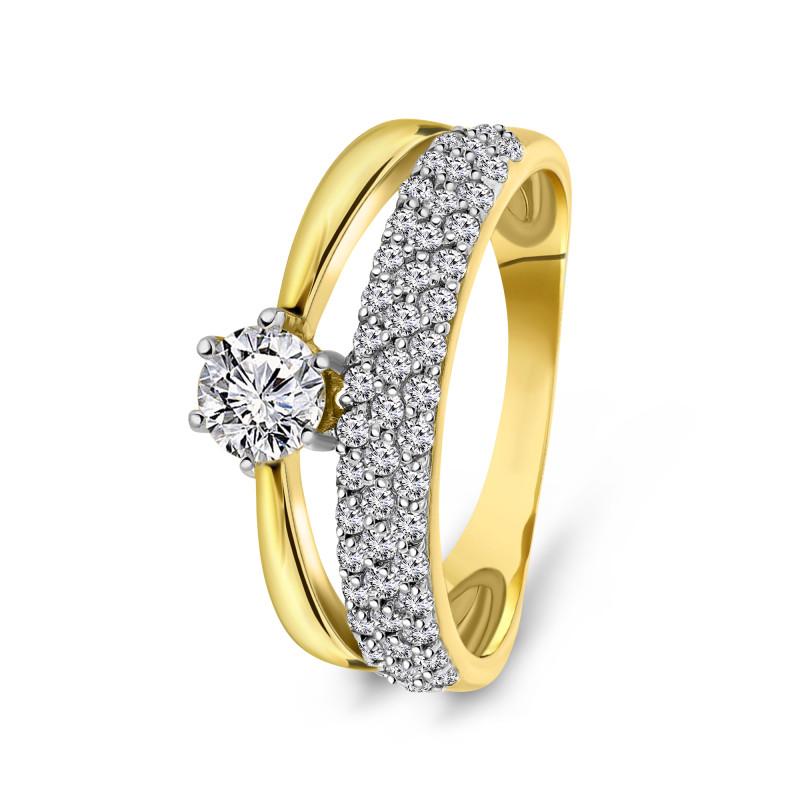 Geelgouden ring met zirkonia R01-59268-Z