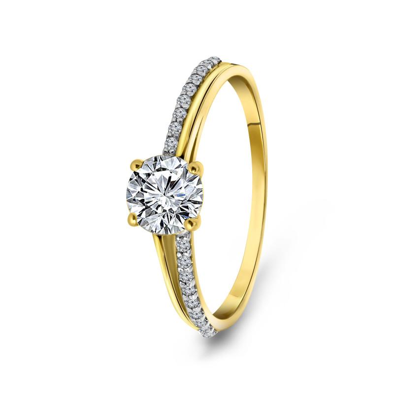 Geelgouden ring met zirkonia 59272Z-Y