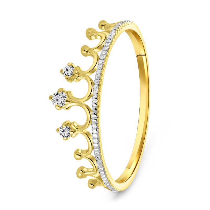 Geelgouden ring met zirkonia R01-59280-Z