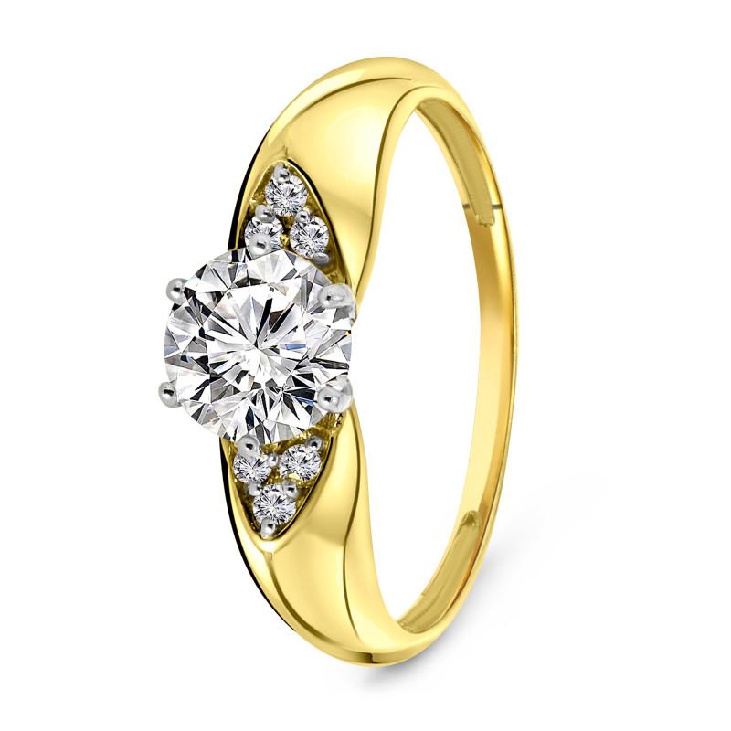 Geelgouden ring met zirkonia 59745Z-Y