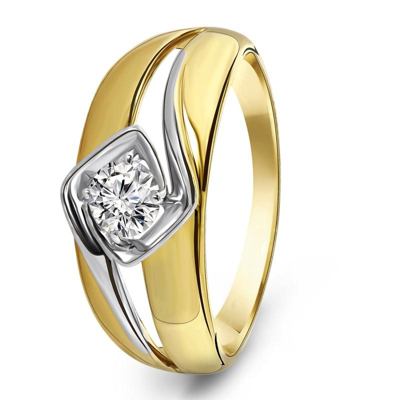 Gouden ring met zirkonia R03-59843Z-M