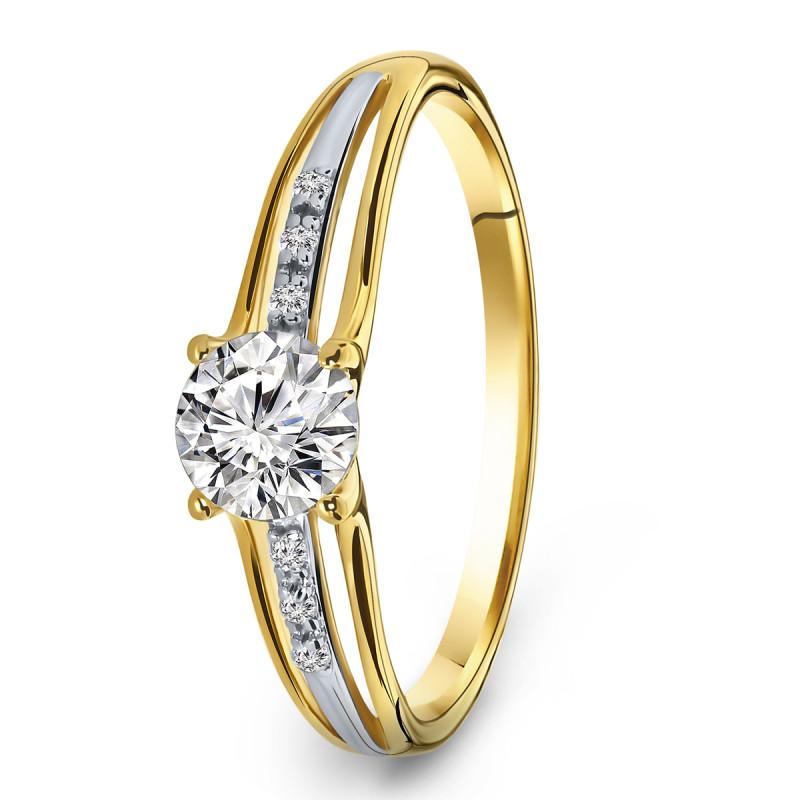 Gouden bicolor ring met zirkonia R03-59906-Z