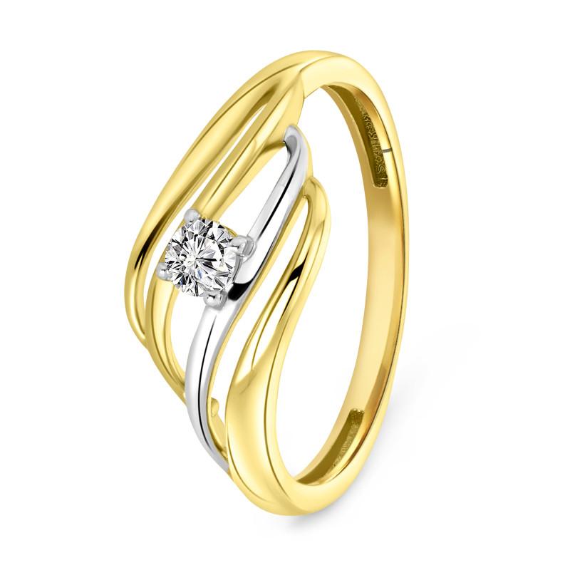 Bicolor ring met zirkonia L-59989-Z