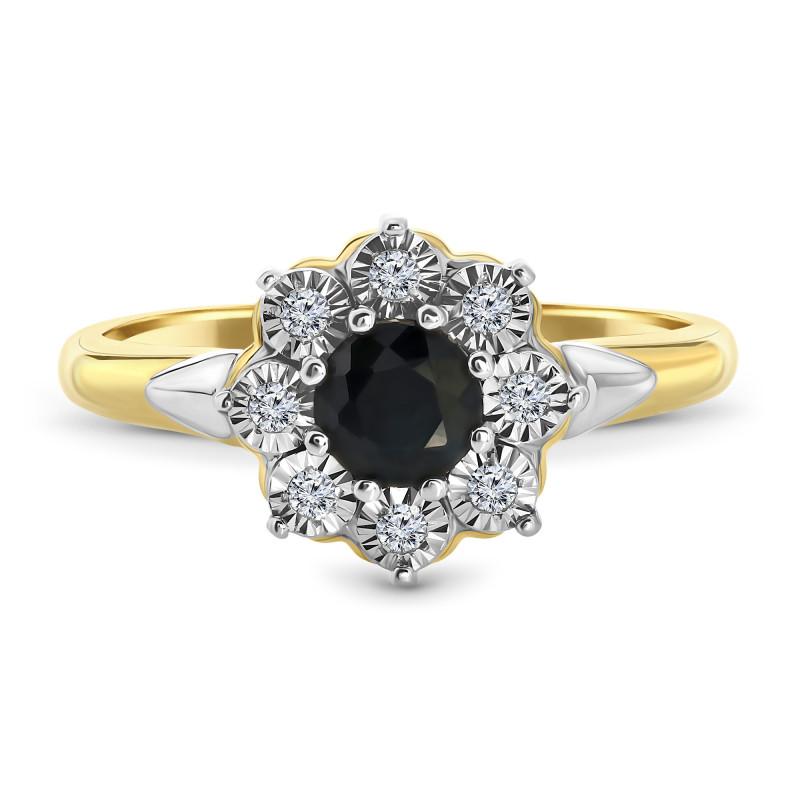 Geelgouden ring met saffier en diamant L-PL-35309-B
