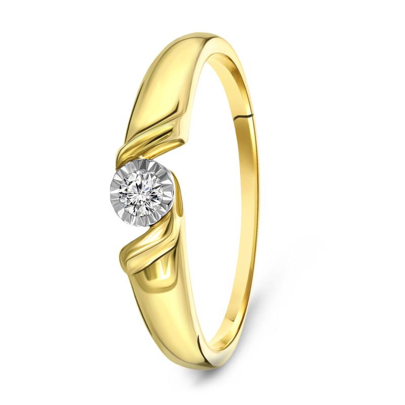 Geelgouden ring met diamant PL-35146-Y