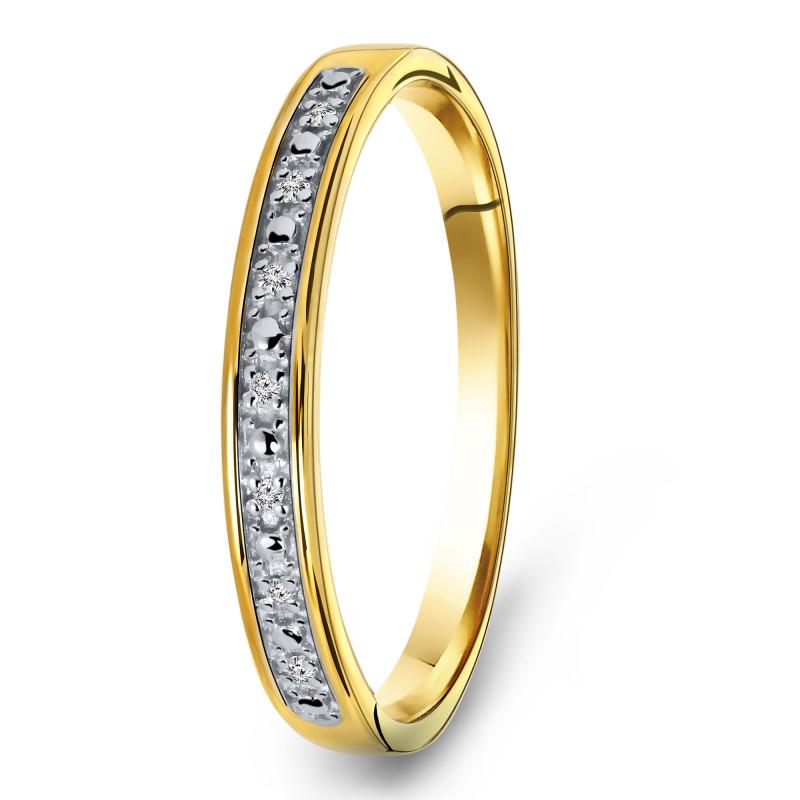 Geelgouden ring met diamant R01-BS-001
