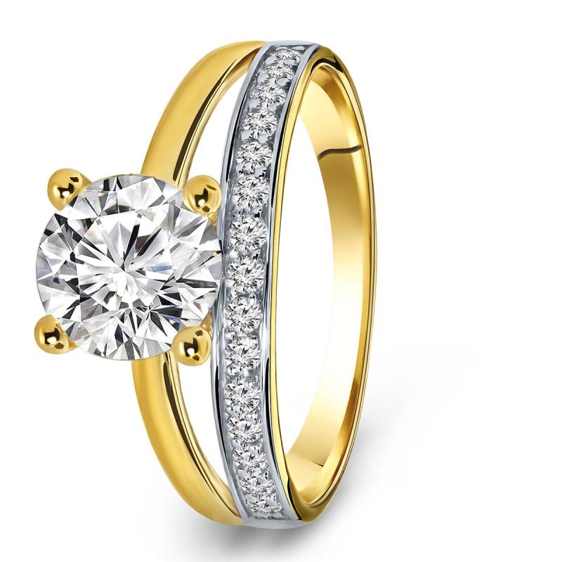 Gouden ring met zirkonia R03-59261-RH-M