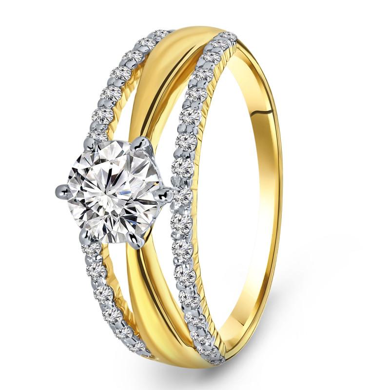 Geelgouden ring met zirkonia R03-59305-RH-M