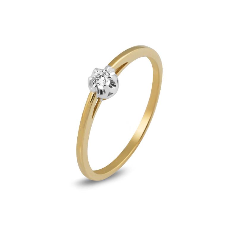 Geelgouden ring met diamant SOL-M006-005-G2
