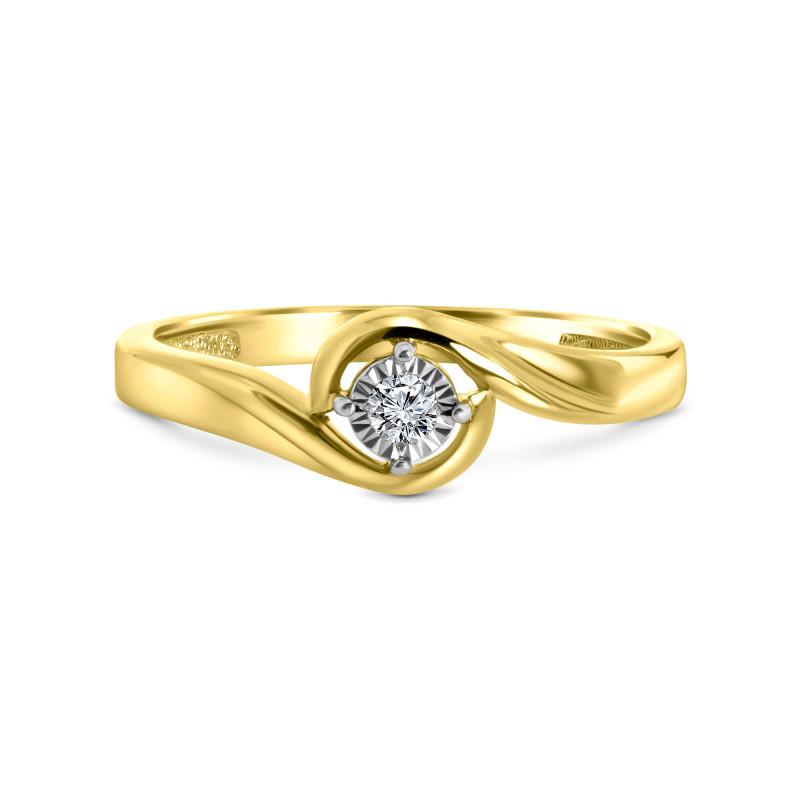 Geelgouden solitair ring SOL-Y908-005-G2