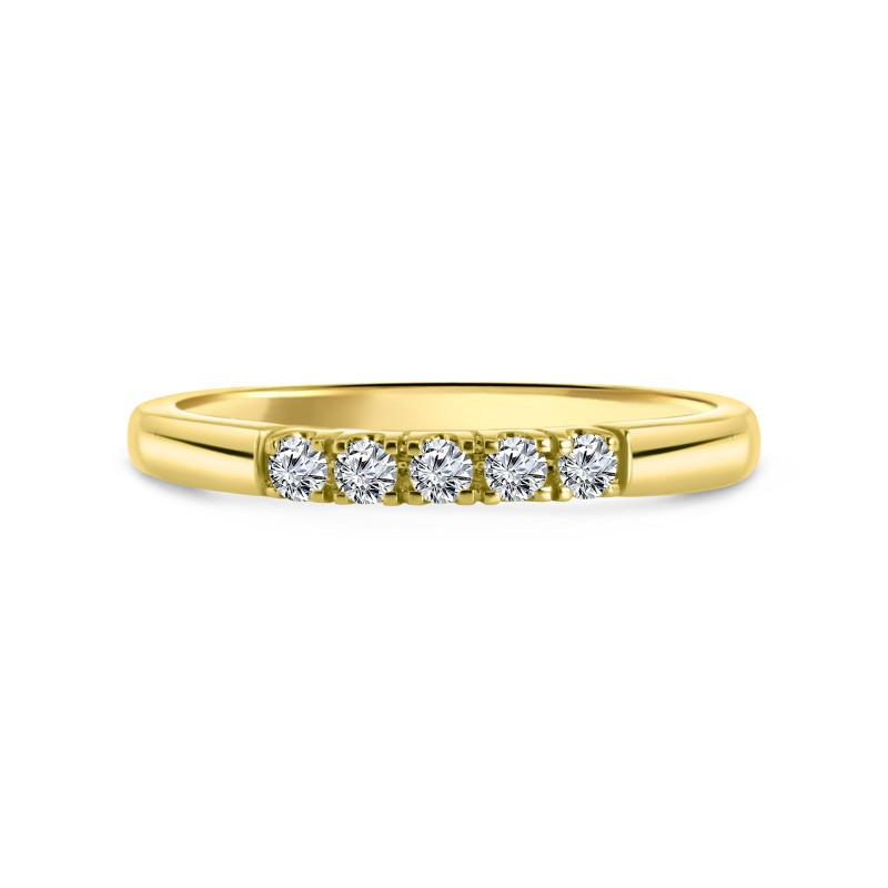 Geelgouden rijring met 0.16 ct diamant