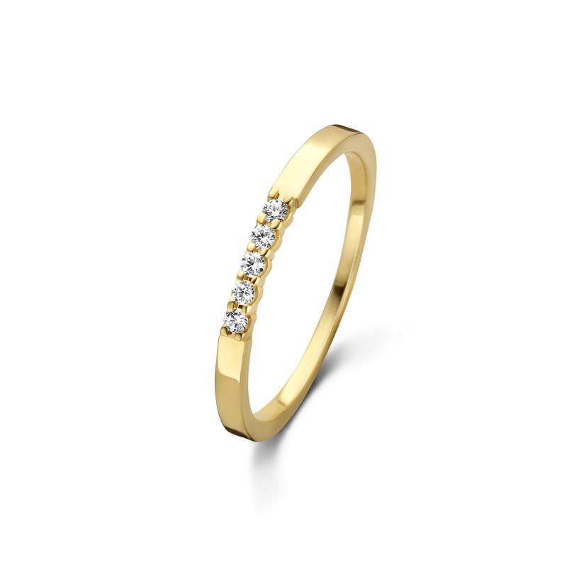 Geelgouden rijring met diamant UFOX5844G