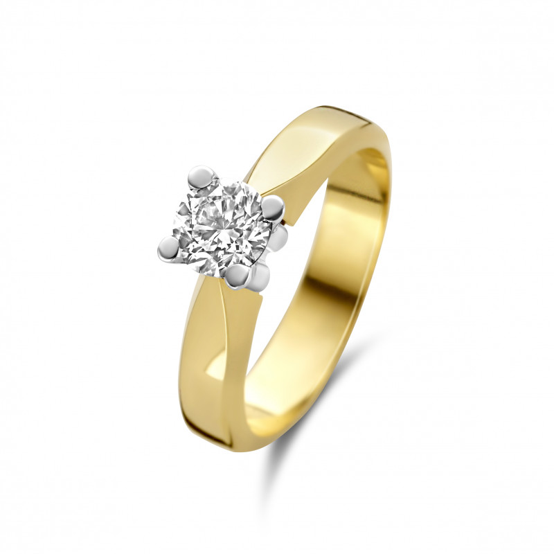 Geelgouden ring met diamant SOL-M724-070-G2