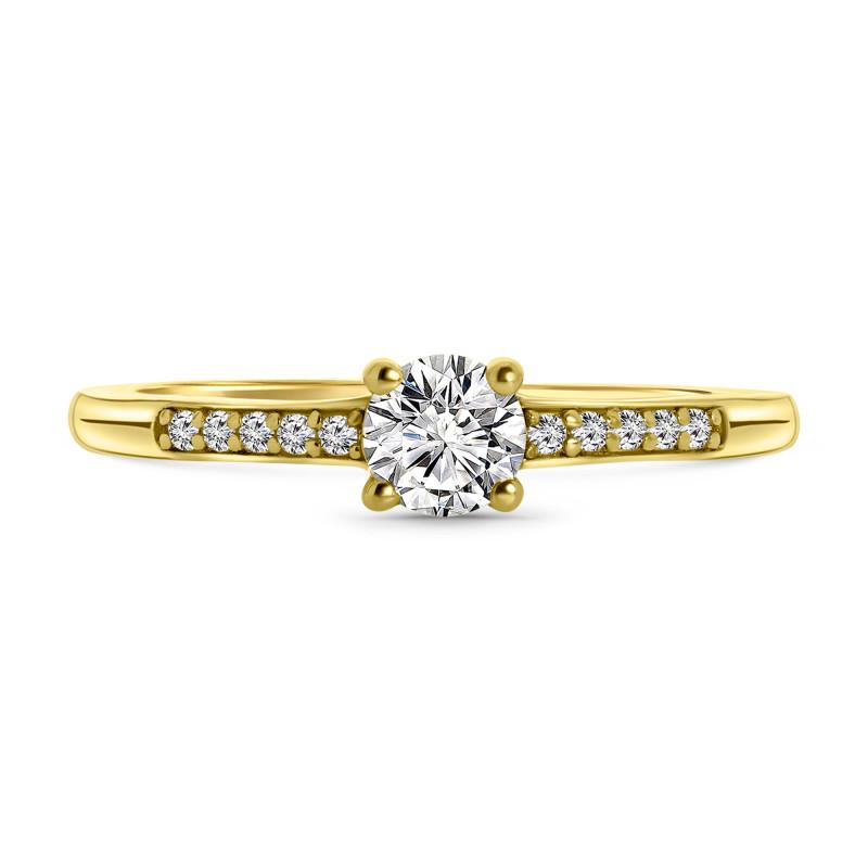 Gold plated ring met zirkonia 01.114Z.35