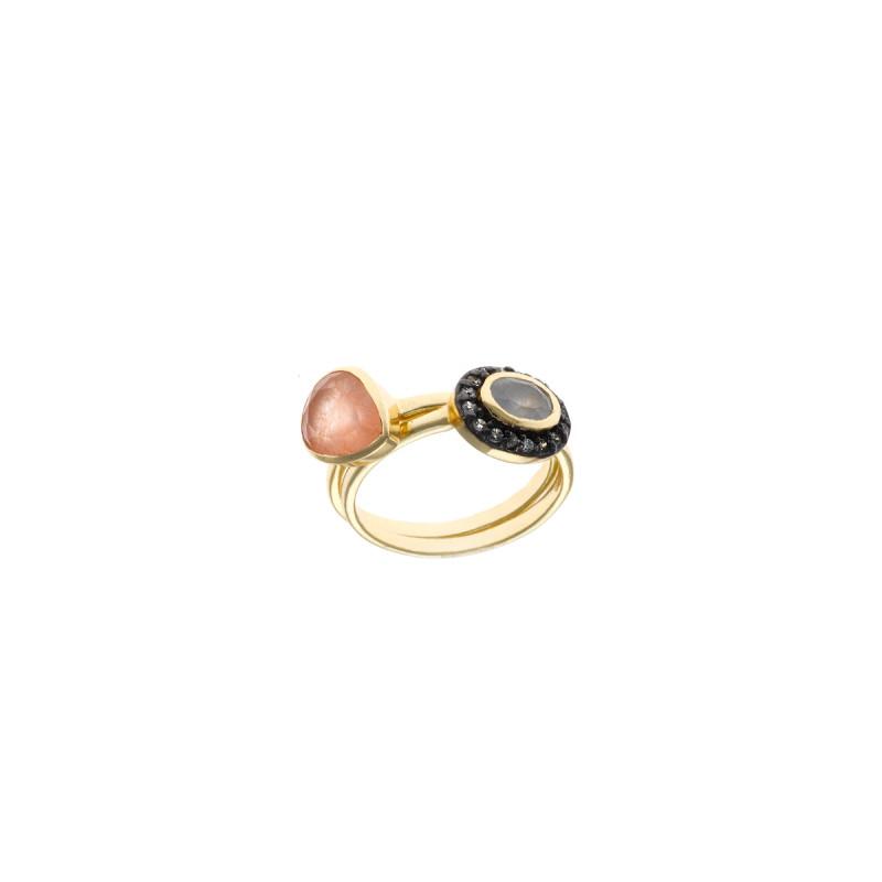 Ring met jade, calciet en zirkonia 163S0171