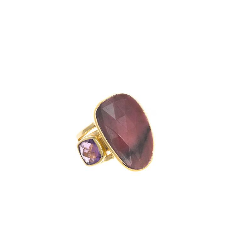 Ring met rhodoniet en amethist 163S0248